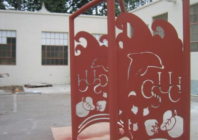 CSUCI Arch Designed and built by Christine Apostolina Beirne and Angel Rivas, steel with powder-coat finish