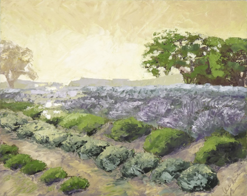 "Christine Apostolina Beirne ""Ojai Lavender Field"" 16x20, oil on cradled board"