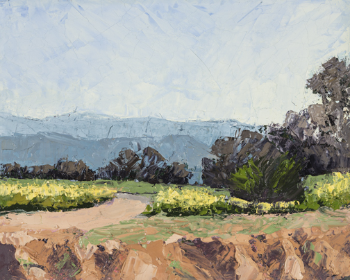 Christine Apostolina Beirne Ojai Spring Walk 8x10, oil on board