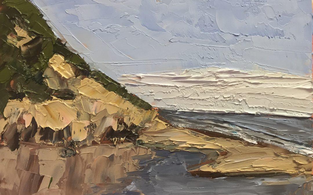 Christine Apostolina Beirne Hendry's Beach aka Arroyo Burro Beach 4x6, oil on cradled board, palette knife