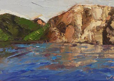 "Christine Apostolina Beirne ""Santa Cruz Reflection"" 4x6, oil on cradled board"