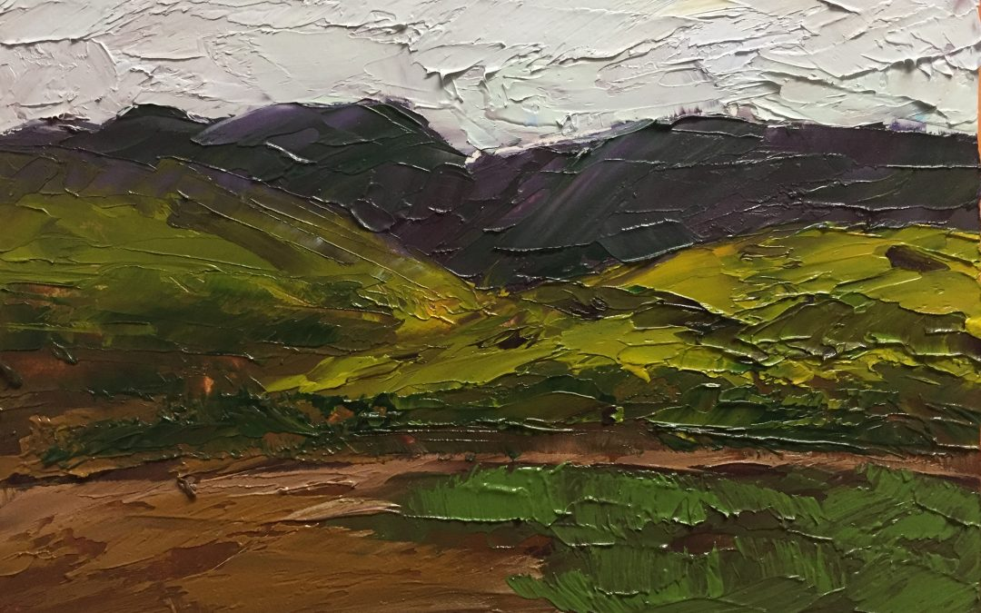 "Christine Apostolina Beirne ""Cloudy Day at Carrizon National Monument"" 4x6, oil on cradled board"