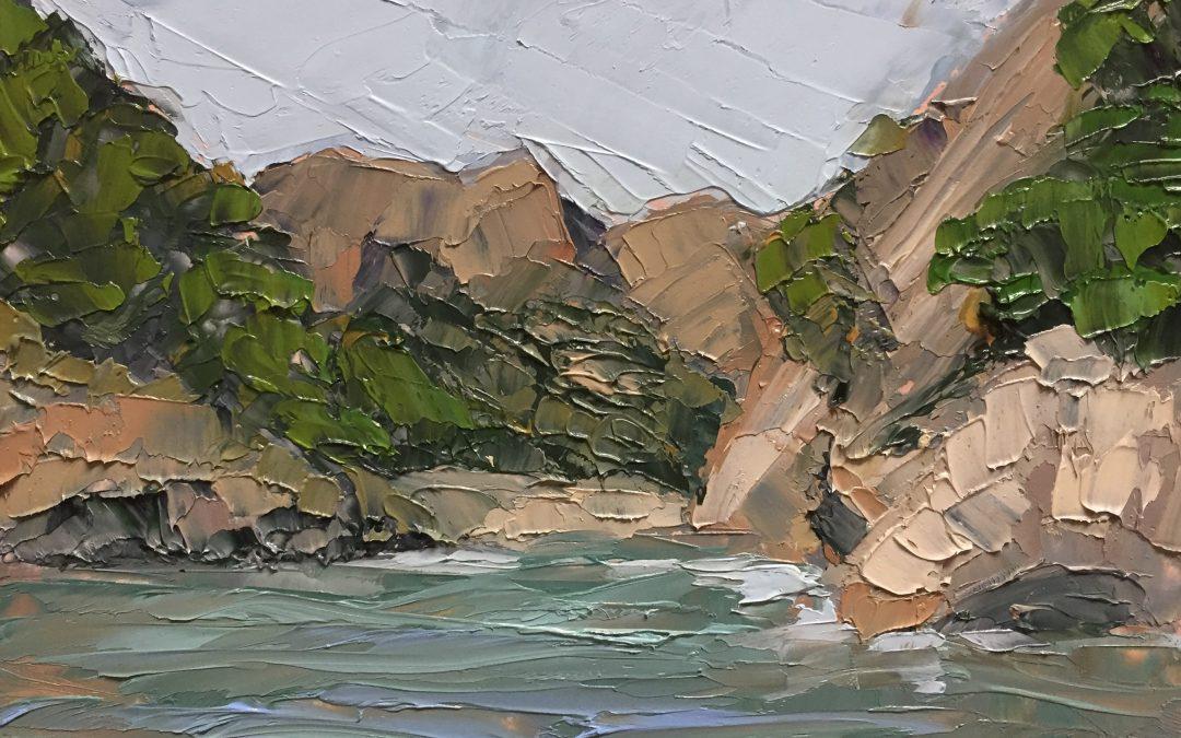 "Christine Apostolina Beirne ""Santa Cruze Cove"" oil on panel, 4x6"