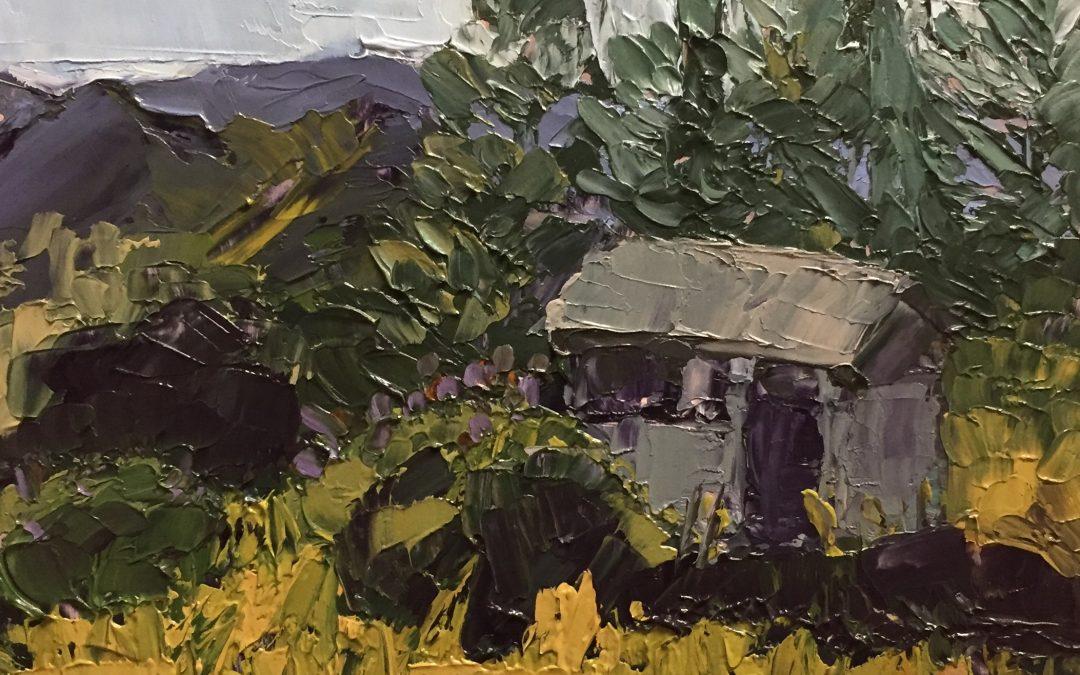 "Christine Apostolina Beirne ""Figueroa Mountain Firewatch II"" oil on cradled board, 5x5"