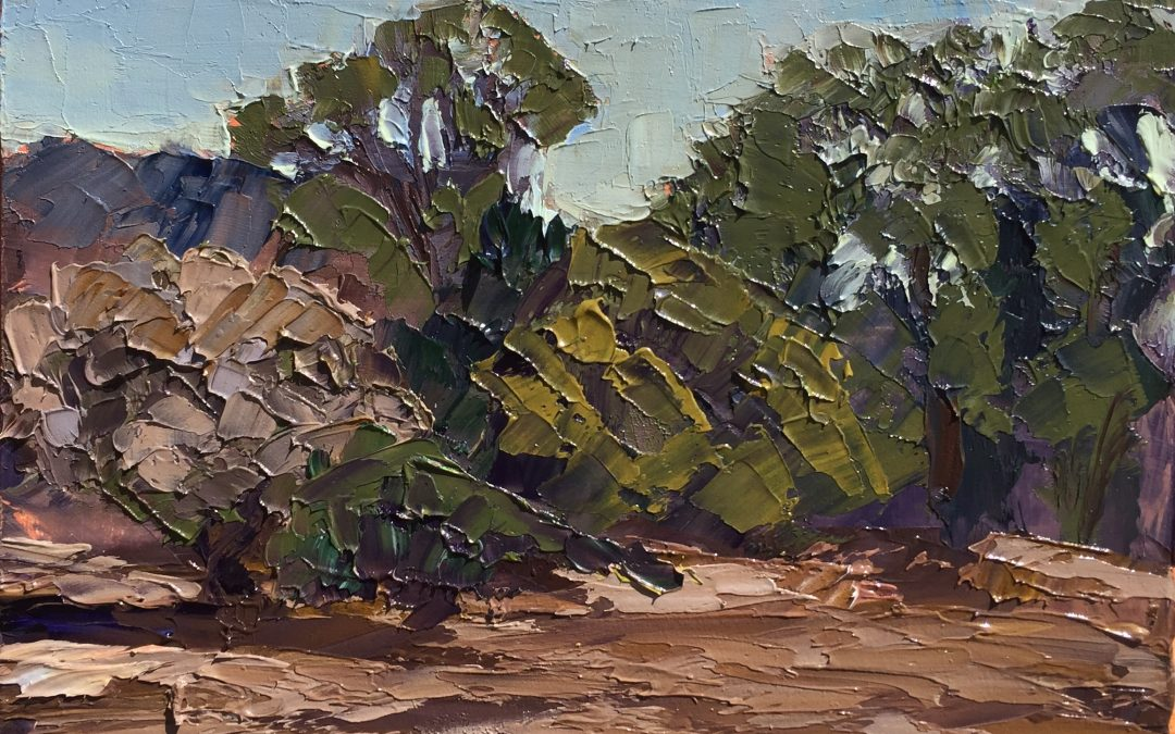 """Christine Apostolina Beirne """"Drought!"""" 6x8, oil on cradled board"""
