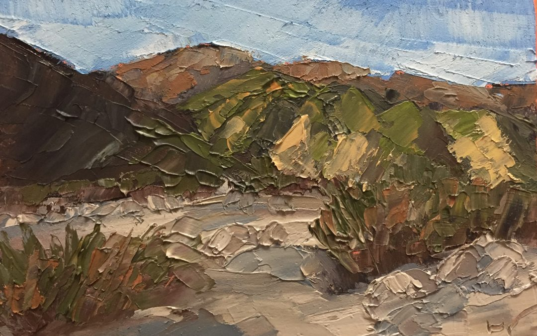 """Christine Apostolina Beirne """"Whitewater River"""" oil on cradled board, 4x6"""