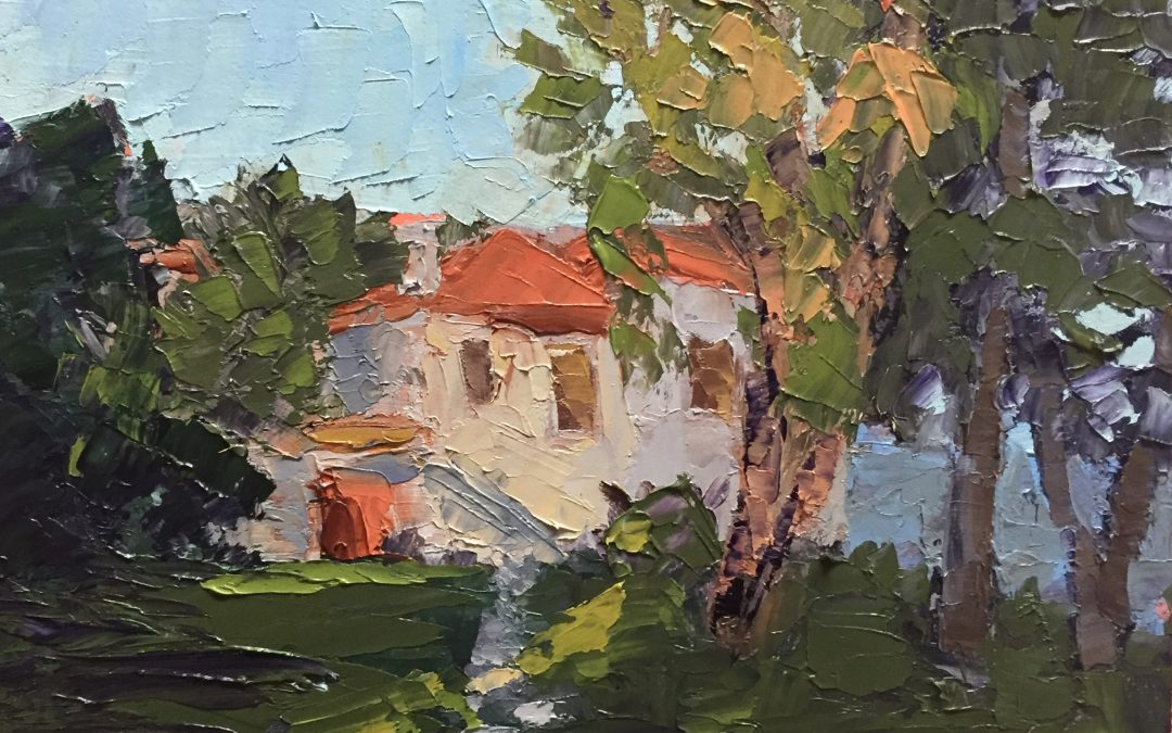 """Christine Apostolina Beirne """"A Day at the Aegean Sea"""" oil on cradled board, 7x5"""