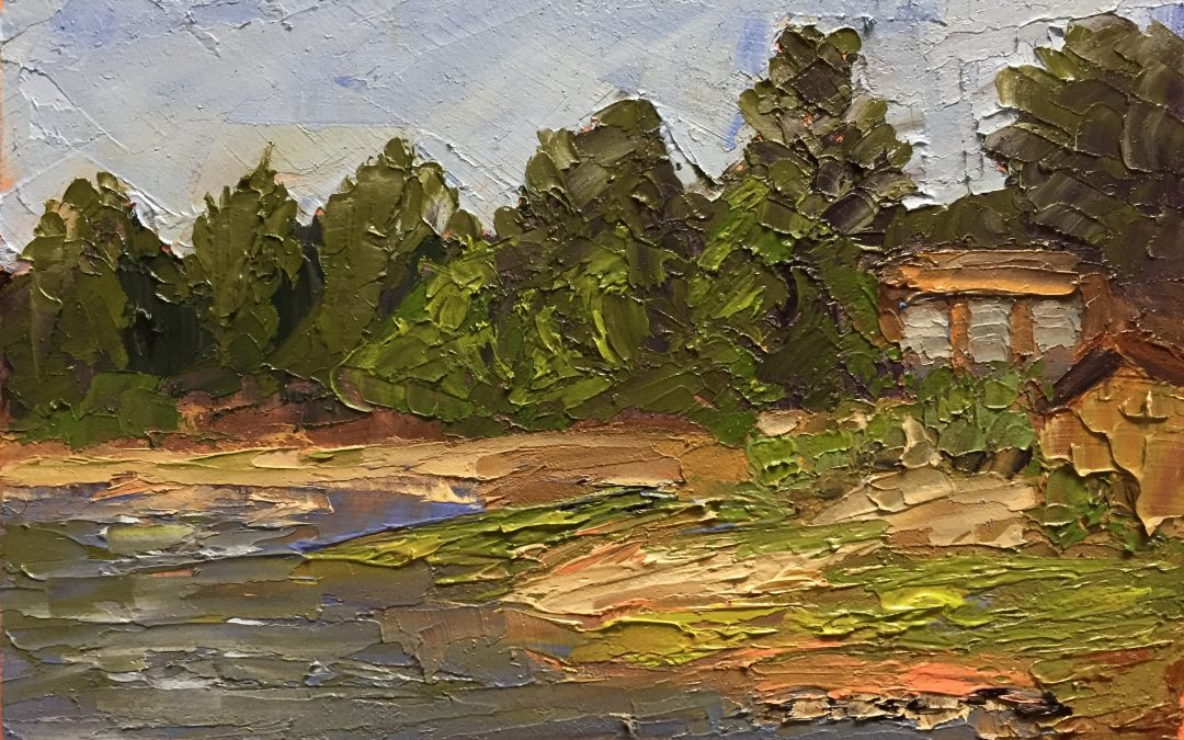 "Christine Apostolina Beirne ""Lake Tahoe Inlet"" oil on cradled board, 4x6"