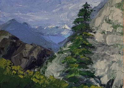 "Christine Aposotlina Beirne ""View of Skagway, Alaska from the White Pass & Yukon Route Railway"" oil on board, 6x8"