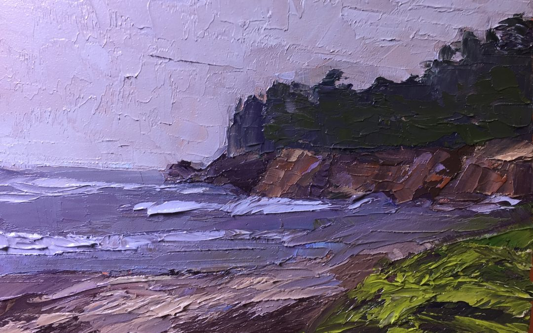 "christine apostolina beirne ""Sunset Bay State Park, Oregon"" oil on cradled board, 4x6"