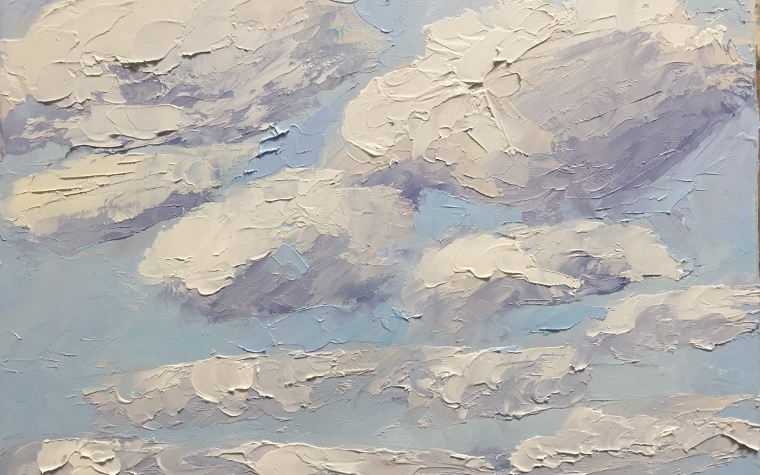"Christine Apostolina Beirne ""Clouds, Clouds, Clouds"" 8x10, oil on cradled board"