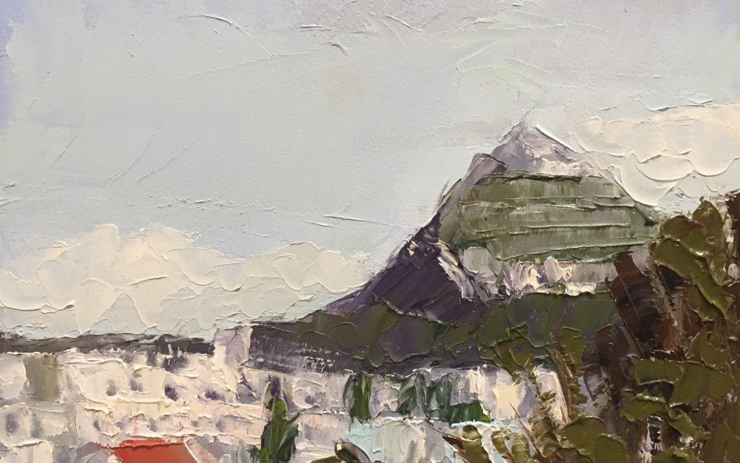 "Christine Apostolina Beine ""Lykavittos Hill, Athens"" oil on cradled board, 5x5"