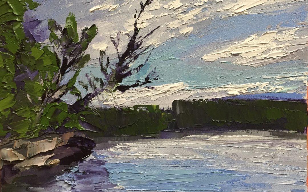 "Christine Apostolina Beirne ""Lake Nemegosenda"" oil on cradled board, 4x6"