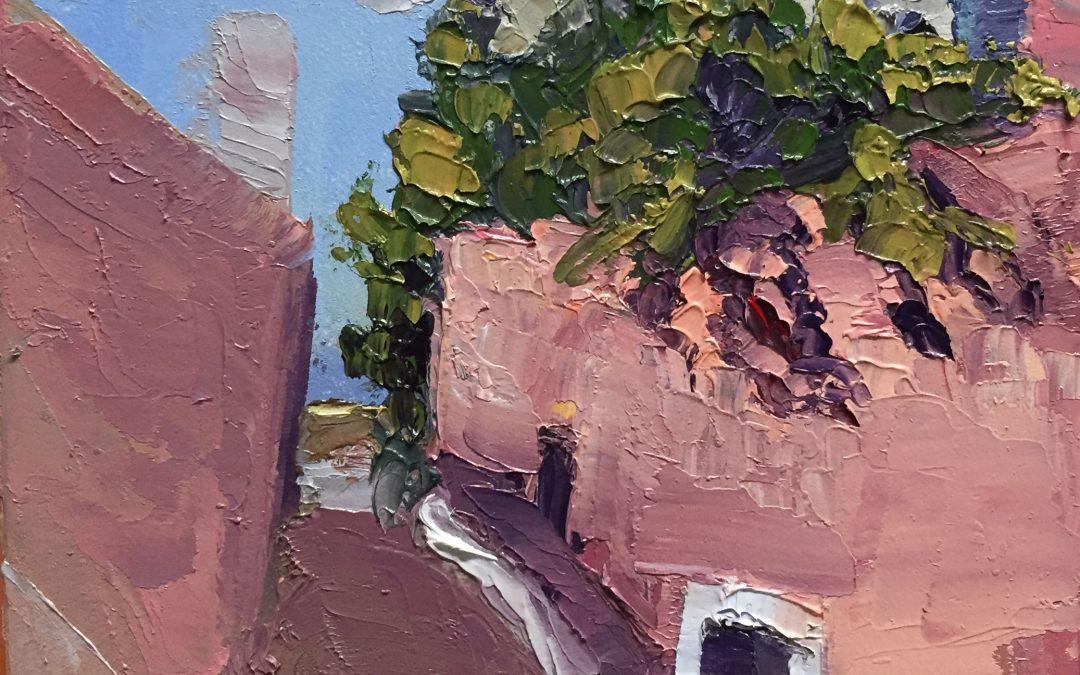 "Christine Apostolina Beirne ""Santorini, Greece"" oil on cradled board, 5x5"