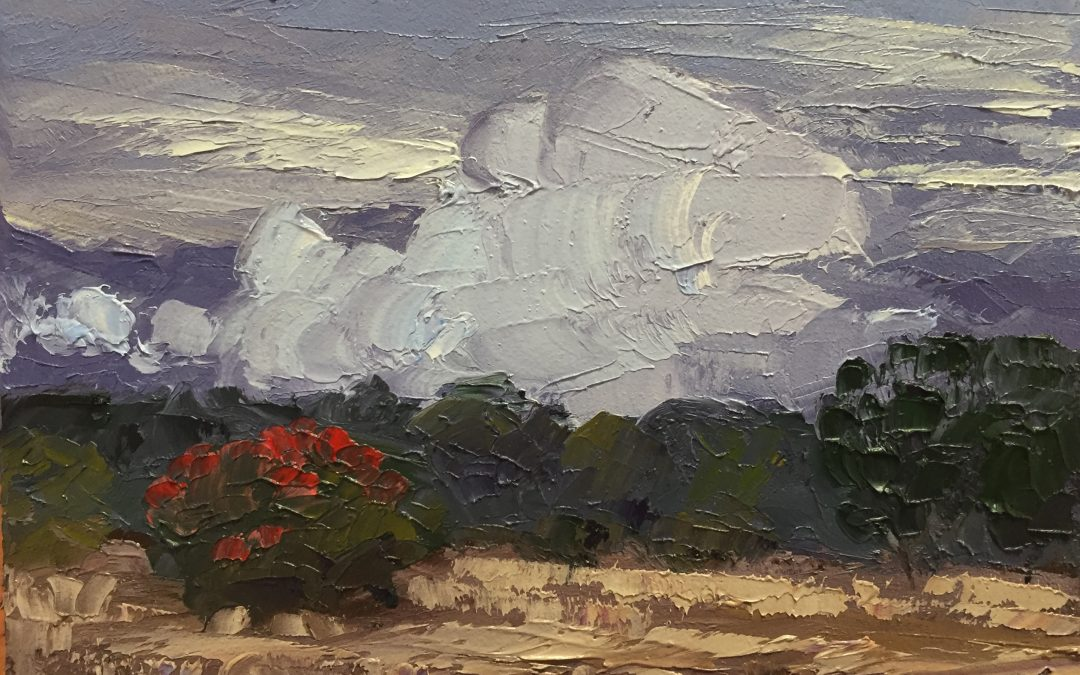 "Christine Apostolina Beirne ""Ojai Meadow Fog"" oil on cradled board, 5x7"