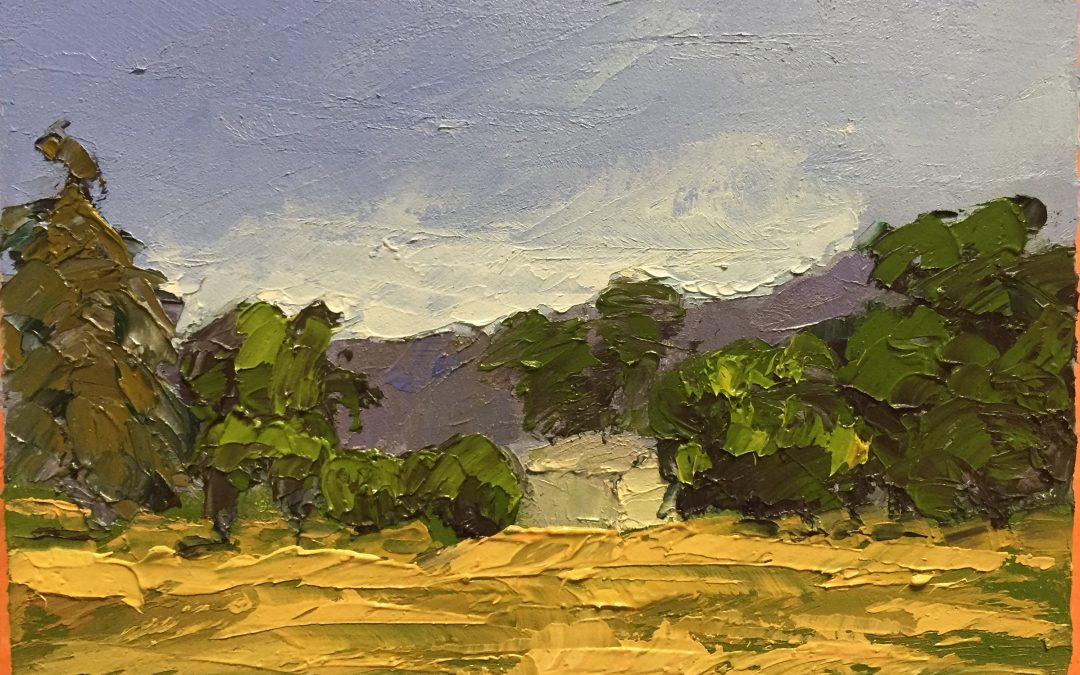 "Christine Apostolina Beirne ""Upper Ojai' oil on cradled board, 5x7"
