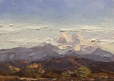 "Christine Apostolina Beirne ""Mt. Shasta, California"" oil on cradled board, 5x5"