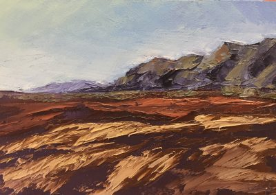 "Christine Apostolina Beirne ""Near Carpinteria Salt Flats"" oil on cradled boards, 4 x6"
