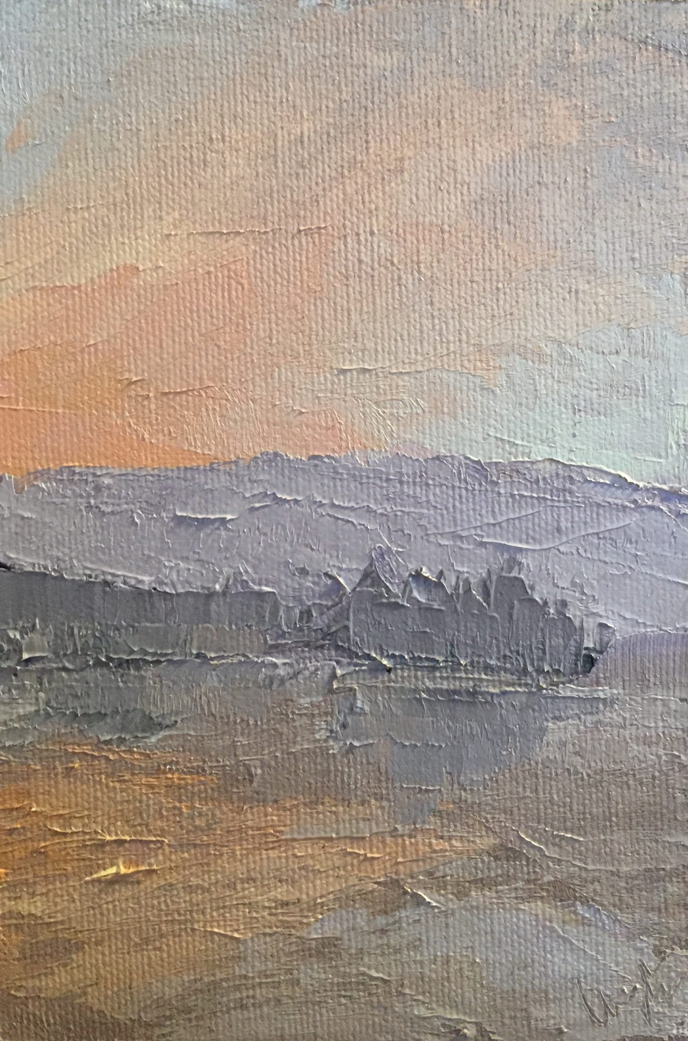"Christine Apostolina Beirne ""View from Pan Pacific - Vancouver"" oil on panel, 6x4"