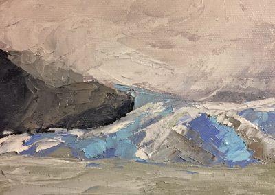 "Christine Apostolina Beirne ""Mendenhall Glacier from Mendenhall Lake"" oil on board, 6x8"