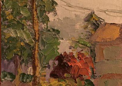 """Christine Apostolina Beirne """"Smokier from Greg's Balcony"""" oil on board, 4x6"""