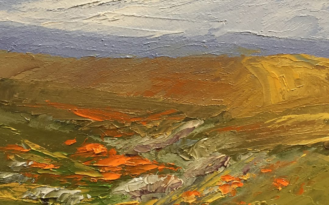 "Christine Apostolina Beirne ""Breezy Day at Antelope Valley"" 7x5, oil on cradled board"