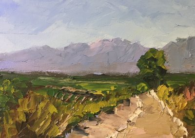 "Christine Apostolina Beirne ""View from Meditation Mount"" oil on cradled board, 5x7"