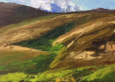 """Christine Apostolina Beirne """"There's a Bear in Them There Hills"""" oil on cradled board, 5x7"""