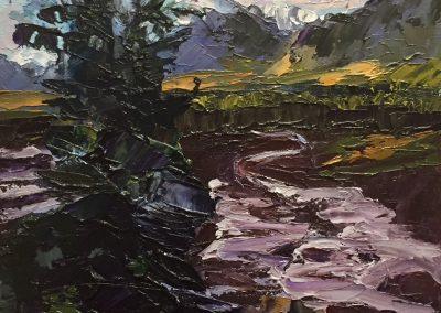 """Christine Apostolina Beirne """"Denali Glacier Flow"""" oil on cradled board, 5x7"""