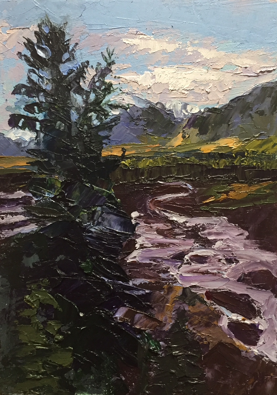 "Christine Apostolina Beirne ""Denali Glacier Flow"" oil on cradled board, 5x7"