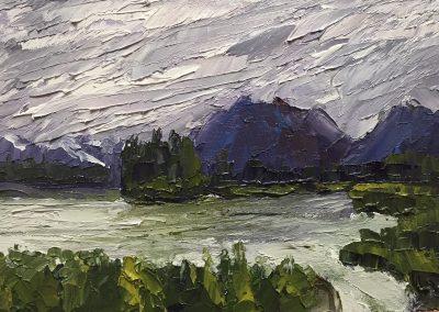 "Christine Apostolina Beirne ""Palmer, Alaska (Outside Anchorage)"" oil on cradled board, 4x6"