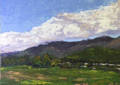 "Christine Apostolina Beirne ""View from Carpinteria Bluffs"" oil on cradled board, 12x12"