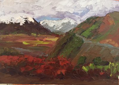 "Christine Apostolina Beirne ""Denali Fireweed"" oil on cradled board, 5x7"