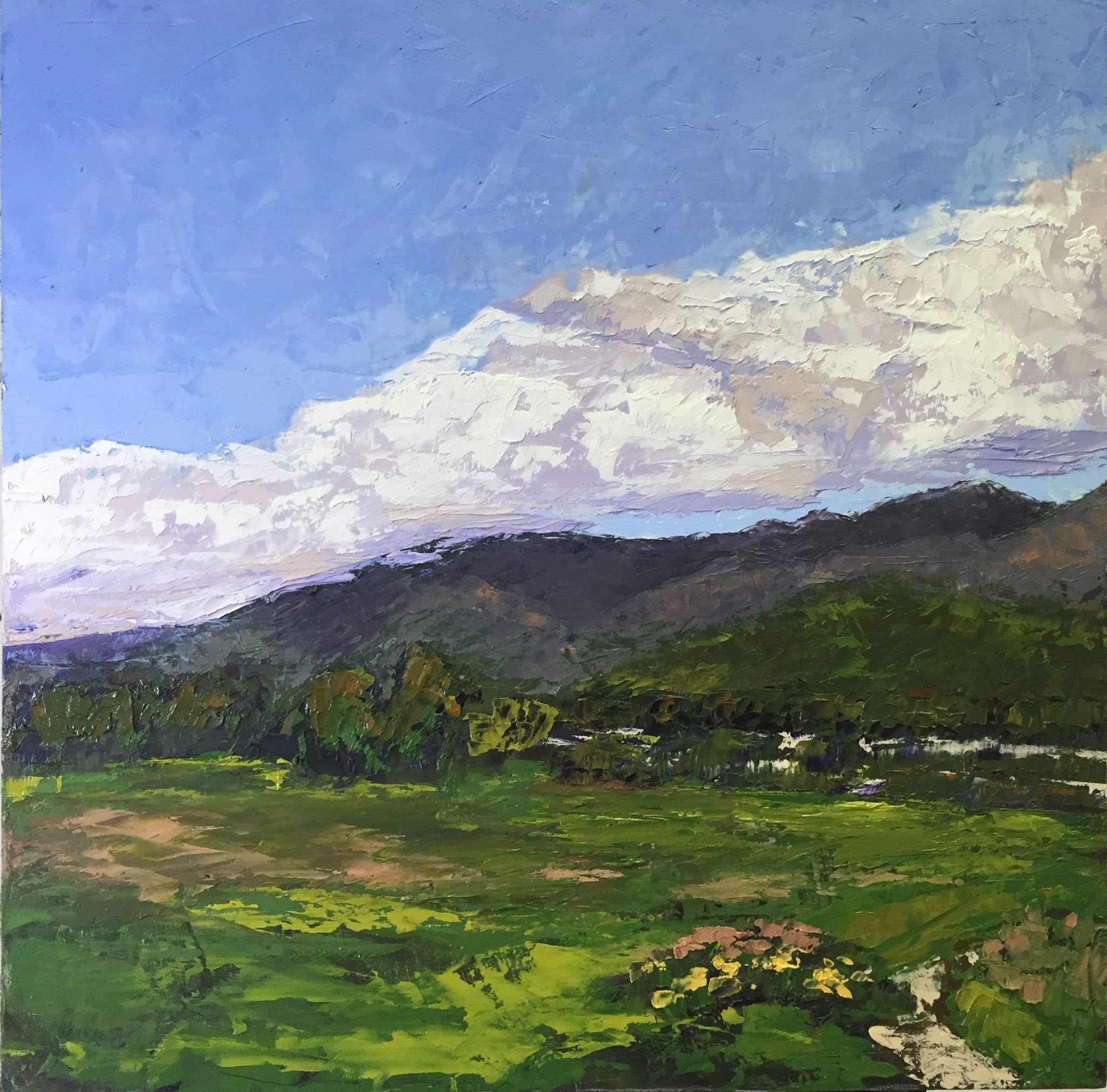 "Christine Apostolina Beirne ""View from Carpinteria Bluffs"" oil on cradled board. 12x12"