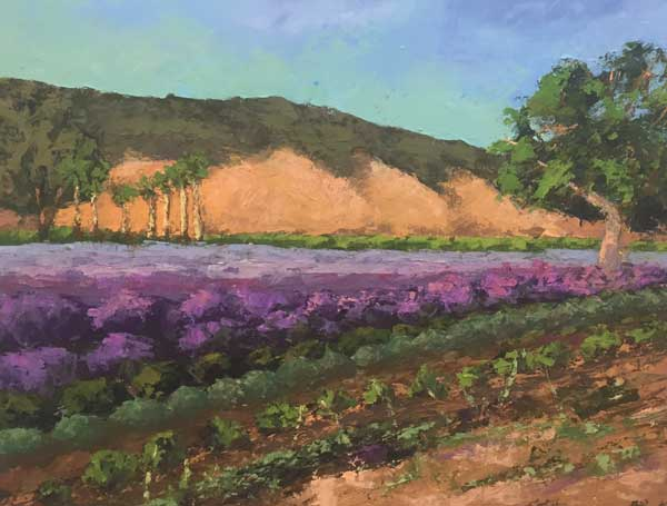 Christine Apostolina Beirne Upper Ojai Lavender Field 18x24, oil on cradled board, palette knife
