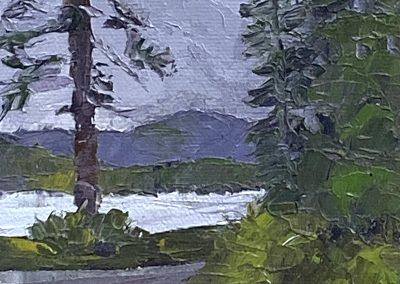 Christine Apostolina Beirne, Athabascan Village Path, Alaska, oil on cradled board, 6x4, palette knife