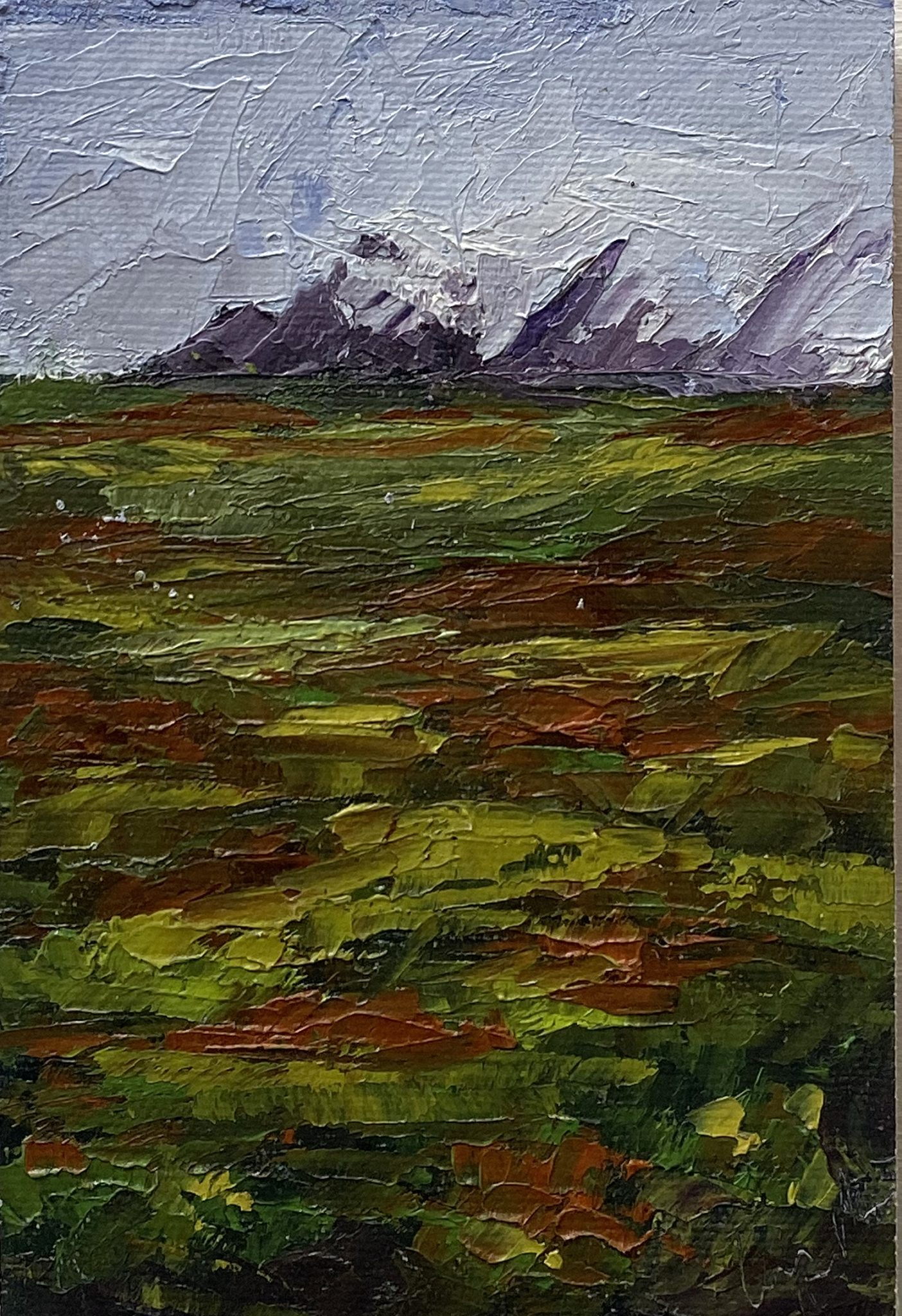 "Christine Apostolina Beirne ""Denali Tundra"" oil on cradled board, 6x4, palette knife"