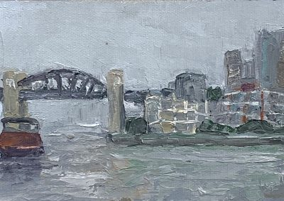 Christine Apostolina Beirne, Vancouver BC Harbor from Granville Island, oil on cradled board, 4x6, palette knife