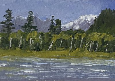 Christine Apostolina Beirne, View From Denali Park Village, oil on cradled board, 4x6, palette knife