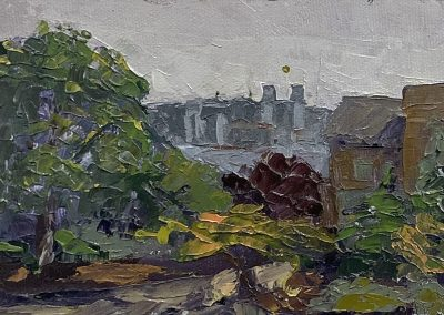 "Christine Apostolina Beirne ""View from Greg's Balcony"" oil on board, 4x6"