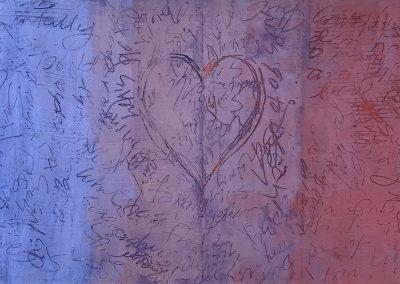 "Christine Apostolina Beirne, ""Conversation"" 12x48, oil and cold wax medium on cradled board"
